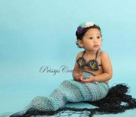 Crochet Mermaid photo prop/newborn to toddler/under the sea prop
