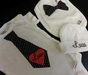 Little guy tie/bowtie bib/hat gift set/personalization optional