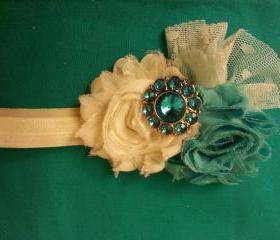 Teal and ivory with turquoise gemstone button with lace accent
