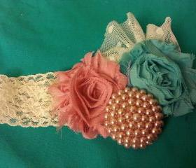 Mauve, teal and ivory with pearl button with lace accent